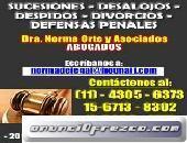 Abogados,divorcios,despidos,desalojos 4305-6373consulte ya